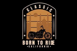 harley classic born to ride california color cream vetor