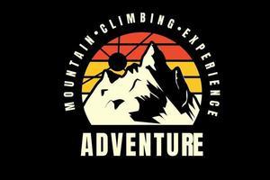 experiência de alpinismo aventura cor laranja amarelo e amarelo claro vetor
