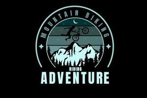 mountain bike equitação aventura cor verde gradiente vetor