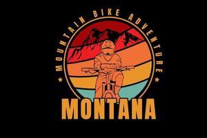 mountain bike aventura montana cor vermelho laranja e verde vetor