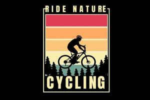 montanha passeio natureza ciclismo cor gradiente vermelho e amarelo vetor
