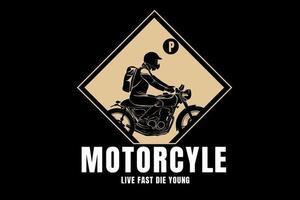 motocicleta viva rápido morra jovem cor creme vetor