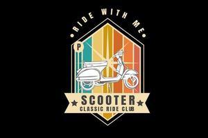 passeio comigo scooter clássico passeio clube cor laranja amarelo e verde vetor