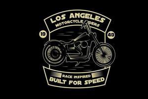 Harley motocicleta pilotos inspirados em arroz, construído para velocidade, cor amarela vetor