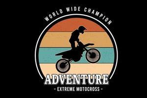 campeão mundial aventura extrema motocross cor laranja amarelo e verde vetor