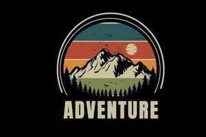 aventura na montanha cor verde e laranja vetor