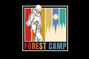 acampamento florestal cor amarelo vermelho e verde vetor