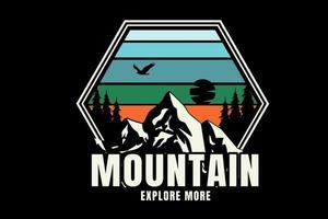 montanha explore mais cor azul, verde e creme vetor