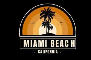gradiente de cor laranja miami beach califórnia vetor