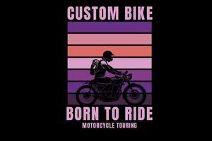 bicicleta personalizada nascida para andar de motocicleta cor rosa e roxo vetor