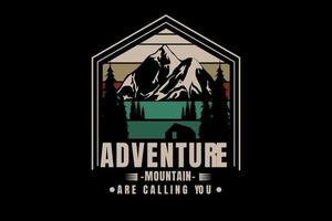 montanha aventura estão chamando você de cor verde creme e vermelho vetor