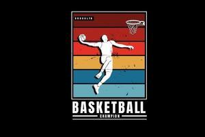campeão de basquete cor laranja amarelo e verde vetor
