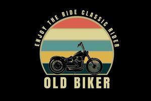 harley aproveite o passeio ciclista clássico velho motociclista cor laranja creme e verde vetor