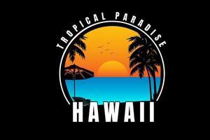 paraíso tropical havaí cor laranja e azul vetor