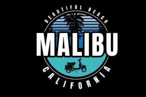 bela praia malibu california cor azul gradiente e verde vetor