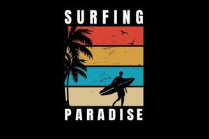 surf paraíso cor laranja amarelo verde e creme vetor