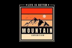 a vida é melhor expedição de montanha cor laranja e amarelo vetor