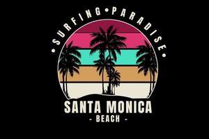 paraíso do surf praia de santa monica cor vermelho verde e creme vetor