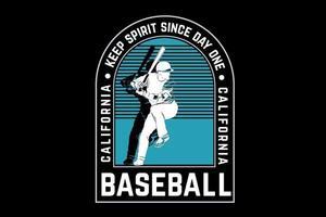 mantenha o espírito desde o primeiro dia de beisebol da califórnia verde e branco vetor