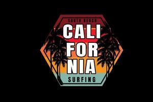 South Beach, Califórnia, surfe, cor vermelho, laranja e verde vetor