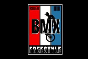 rider bike motocross freestyle cor vermelho branco e azul vetor