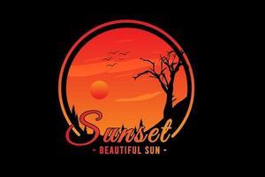 pôr do sol lindo sol cor laranja vetor