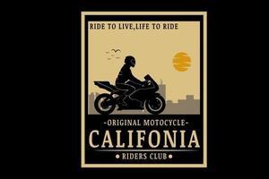 original motocicleta california riders club cor creme vetor