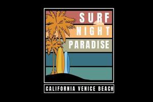 surf night paradise mão desenhando vetor