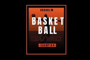 basquete triplo campeão duplo gradiente laranja vetor