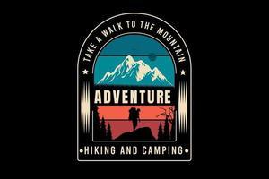 caminhada aventura e acampamento cor verde creme e vermelho vetor