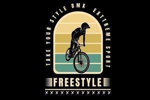 Leve o seu estilo bicicleta motocross extremo freestyle cor amarelo e verde vetor