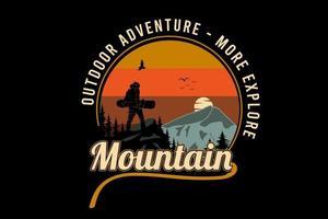 aventura ao ar livre mais explorar a cor da montanha laranja amarelo e cinza vetor