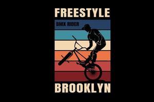 bicicleta freestyle motocross brooklyn cor vermelho creme e azul vetor