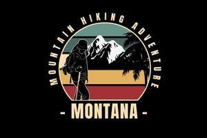 caminhada na montanha aventura montana cor verde e amarelo vetor