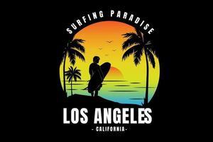 surf paraíso califórnia cor amarelo laranja e azul vetor