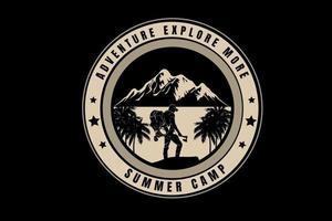 aventura explorar mais acampamento de verão cor creme vetor