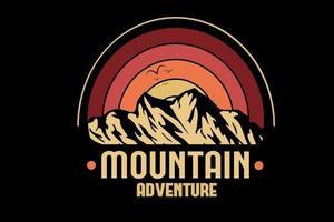 aventura na montanha cor vermelho laranja e amarelo vetor