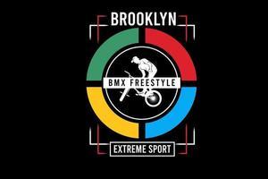 Brooklyn Bicicleta Motocross Estilo Livre Esporte Extremo Cor Azul Vermelho Verde E Amarelo vetor