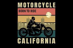 motocicleta nascida para andar na califórnia cor laranja amarelo e verde vetor