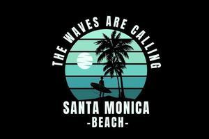 as ondas estão chamando santa monica praia cor verde gradiente vetor