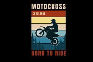 desafio de motocross nasceu para andar de cor laranja amarelo e verde vetor