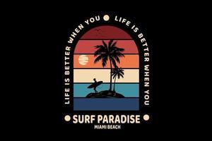 surf paradise miami beach cor vermelho amarelo e azul vetor