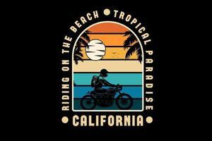 andando na praia paraíso tropical califórnia cor laranja amarelo e verde vetor