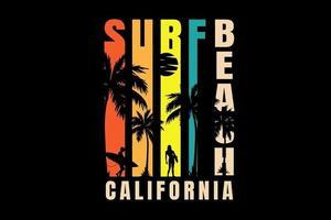 surf beach california color red yellow and green vetor