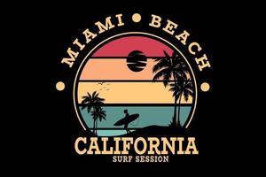 sessão de surf em miami beach califórnia cor vermelho amarelo e verde vetor