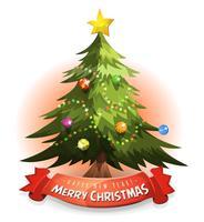 Árvore de Natal com Banner de desejos vetor