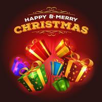 Fundo de Natal feliz com explosão de presentes vetor
