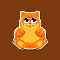 Autocolante de gato gordo bonito vetor