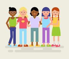 Vetor de comunidades multiculturais feminino