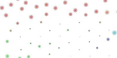 padrão de doodle de vetor multicolor de luz com flores